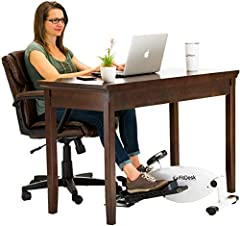 WORKS FOR MOST DESKS: The lowest pedal height is under 8 inches pedal rotation height and can work under desks as low as 25 inches. QUIET & SMOOTH: Smooth and whisper quiet bicycle pedal motion with balanced flywheel and twin belt drive that let you ...