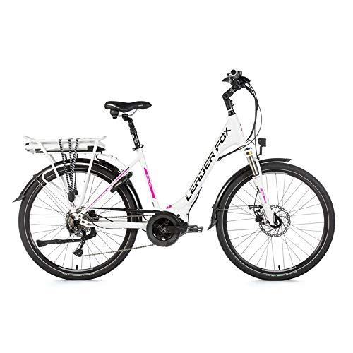 26 Zoll Leader Fox VIVALO City E-Bike Pedelec Shimano 8 Gang LG 36V 16Ah weiß pink RH46cm