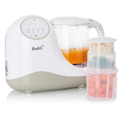 Bable Baby Food Steamer Maker Processor Mill, Touch Control Panel, Easy Clean, Cook Food, Prepare Puree Juice, Chop Vegetable Meat, Sterilize Bottle, Warmer Milk