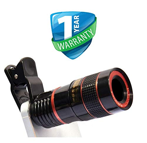 TEQNEQ 8X Mobile Camera Lens Kit Zoom Wide Angle HD Telescope Lens with Blur Background and Universal Clip Holder Support for All Latest Android Smartphones