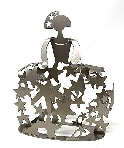 Escultura Figura Menina Modelo Universo en forja Acabado Gris Plata para la Decoracion del hogar, artesania