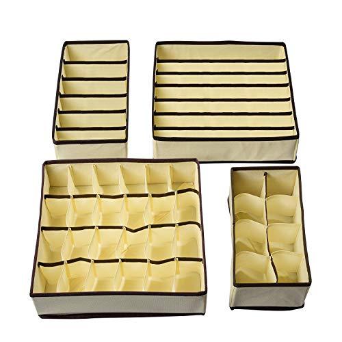HSR Faltbare Aufbewahrungsbox für Unterwäsche und Socken, 4er-Set stapelbarer Organizer für Schublade Kleiderschrank