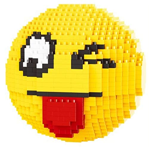 Balody Emoticon streckte Seine Zunge aus und zwinkerte. Abbildung zum Zusammenbau mit Nanoblöcken.