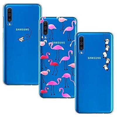 Yoowei [3-Pack] Funda para Samsung Galaxy A30S / A50 / A50S, Transparente con Dibujos Ultra Fino Suave TPU Silicona Protector Carcasa (Avión de Papel, Pandas y Flamencos Roja)
