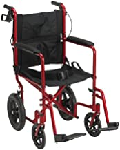 Drive Medical Lightweight Expedition Transport Wheelchair with Hand Brakes, Red