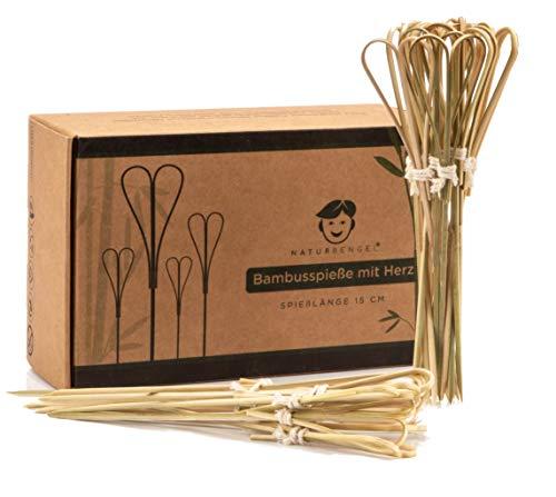 Naturbengel® Holzspieße aus Bambus mit Herzform (15 cm) I Cocktailspieße für Fingerfood (100 Stück) I Hochzeitsdeko I Mit Baumwolle gebunden & Plastikfrei