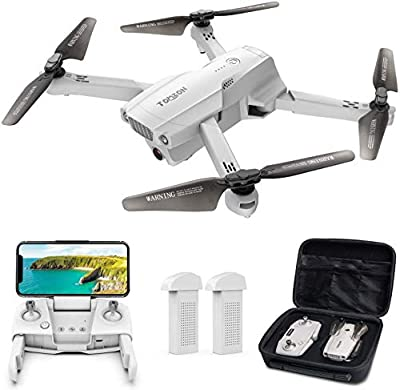 Tomzon D65 GPS Drone with 4K Camera for Adults, FPV RC Quadcopter Foldable Drone with 40 Mins Flight Time, Auto Return Home, Follow Me, Gesture Control, Come with 2 Batteries and Storage Case
