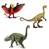 "Kids Galaxy 9"" Poseable Dinosaur Figure Set, Argentinosaurus/Coelophysis/Dimorphodon, Multicolor, 20661"