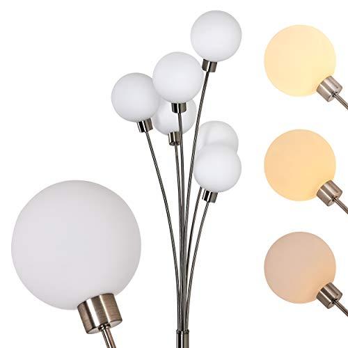 Vloerlamp Bernado traploos dimbaar, vloerlamp nikkel mat/wit, 6-vlam, met 6 glazen bollen, 6 x G9, moderne booglamp voor woonkamer, slaapkamer, gang, met voetschakelaar op de kabel