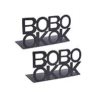 Vosarea 2ピースブックレターシェイプブックエンドメタルブックエンドサポートオフィスブックストッパーヘビーデューティブックエンドラックオフィス用ホーム