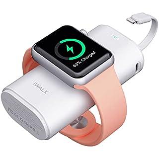 iWALK Apple Watch 充電 モバイルバッテリー 9000mAh大容量 Lightningケーブル内蔵 Apple Watch/iPhone同時充電対応可能 急速充電 Apple Watch Series SE/6/5/4/3/2/1 iPhone...