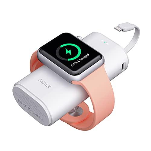 iWALK Apple Watch 充電 モバイルバッテリー 9000mAh大容量 Lightningケーブル内蔵 Apple Watch/iPhone同時充電対応可能 急速充電 Apple Watch Series SE/6/5/4/3/2/1 iPhone 12/SE2/11/XS/XR/X/iPad/iPod 充電対応