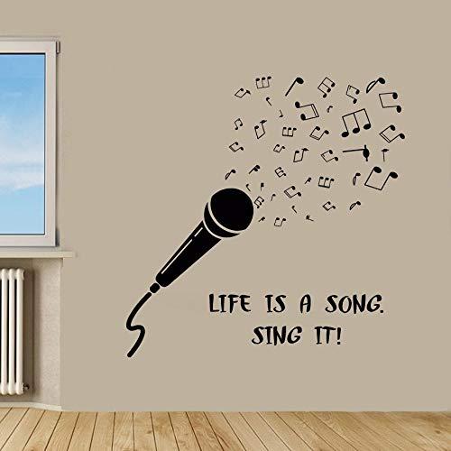 Microfoon muurstickers muziek muur citaten leven is een lied zingen het Vinyl Sticker Woord Home Decor Vinyl Art muurdecoratie kinderkamer kamer Decor KG545