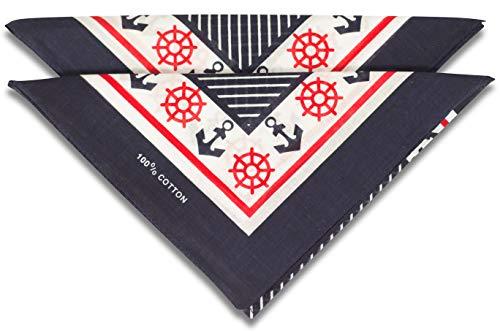 fashionchimp ® Nicki-Halstuch aus 100% Baumwolle im 2er Set, Unisex Bandana, AZO-Frei (Anker-Navy)