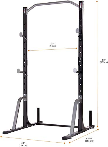 Body Champ Power Rack System Adjustable Squat Rack Weight and Bar Holder for Home Fitness Equipment with Built in Floor Anchors Stability