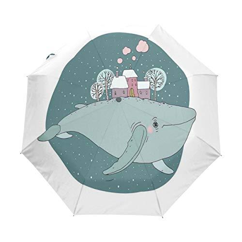 SUHETI Regenschirm Taschenschirm,Majestätischer Wal im Himmel, der Häuser mit rauchenden Kaminen und Bäumen auf seinem Rücken trägt,Auf Zu Automatik,windsicher,stabil