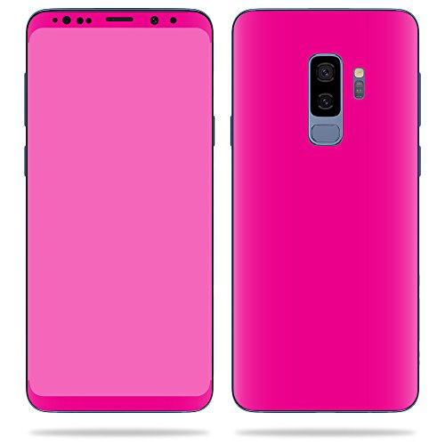MightySkins Skin Compatible with Samsung Galaxy S9 Plus - Solid Hot Pink | Protective, Durable, and Unique Vinyl Decal wrap Cover | Easy to Apply, Remove, and Change Styles | Made in The USA
