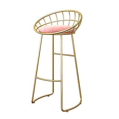 LHDQ Taburetes de Bar Nordic Fashion Breakfast Counter Sillones, Piernas de Metal Dorado de Hierro y Asiento de Terciopelo Suave Rosa,Sitting Height:65cm