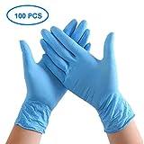 100 Stück Ärztehandschuhe Einweghandschuhe - Virenschutz Handschuhe, latexfrei, puderfrei Schutzhandschuhe, Vinylhandschuhe (Blau, aus PVC, Eine Größe)