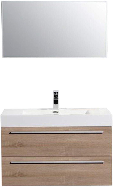 Badmbel-Set T730 Eiche geweit - Aluminium-Spiegel whlbar, Spiegel Ohne Spiegel
