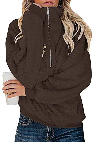 ReachMe Womens Oversized Fleece Sweatshirt Quarter Zip Sherpa Pullover with Pockets Fuzzy Hoodie(Brown,S)