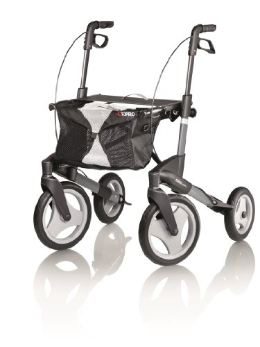 Topro Olympos Deluxe Opvouwbare Rollator - 4 Wiel Outdoor Walker (Choose Size) Medium (Dark Grey)