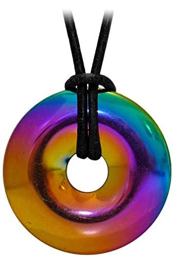 Kaltner Präsente Geschenkidee - Lederkette für Damen und Herren mit Edelstein Donut Anhänger Hämatit Regenbogen bedampft (Ø 30 mm)