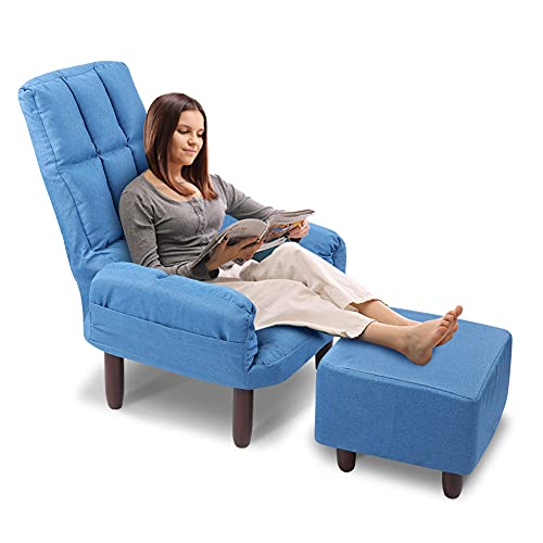 Accent Chair with Ottoman, Contemporary Single Sofa Club Chair Home Fabric Club Chair Chair and Ottoman Set for Living Room, Bedroom, Office, Hosting Room, Blue