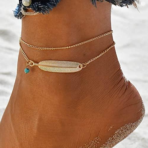 Handcess Tobilleras dobles Boho Pulseras de tobillo de plumas doradas Cadenas de pie turquesa en capas para mujeres y niñas (oro)