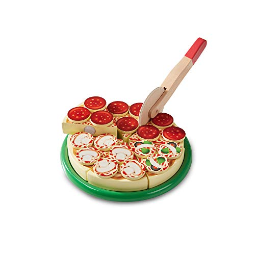 Melissa and Doug Pizza Party Wooden Play Food Set with 54 Toppings