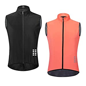 CUTICATE 2本 サイクリングベスト ウインドブレーカー ジャケット 自転車 ノースリーブ 袖なし 防風防寒 メンズ L