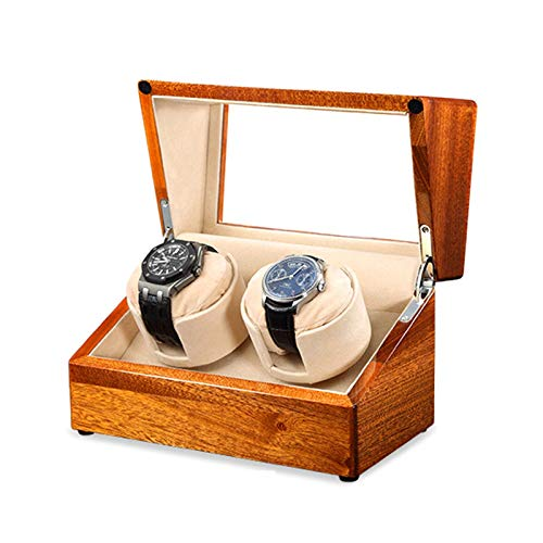 XLAHD Enrollador de Reloj automático, Madera Maciza Enrollador de Reloj Doble automático Caja de Almacenamiento de Relojes 4 Modos de rotación Fuente de alimentación Dual Motor silencioso