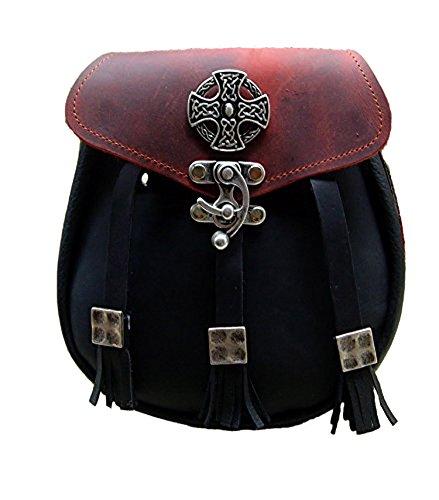 Kilt Tasche Sporran Kreuz der Kelten Farbe schwarz rot