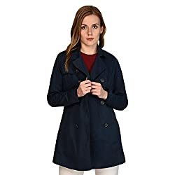 MansiCollections Dark Blue Double Breasted Coat for Women