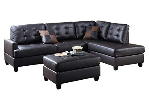 Poundex PDEX-F6855 Upholstered Sofas Sectionals Armchairs, Espresso