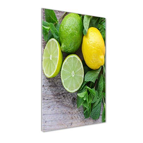 Tulup Impresión en Vidrio - 60x120cm - Cuadro sobre Vidrio - Pinturas en Vidrio - Cuadro en Vidrio - Impresiones sobre Vidrio - Cuadro de Cristal - Comidas Y Bebidas - Verde - Lima Y Limón