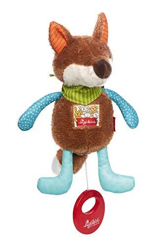 SIGIKID Mädchen und Jungen, Mini-Spieluhr zum Aufziehen, Fuchs, Babyspielzeug, empfohlen ab 0 Monaten, blau/braun, 42380