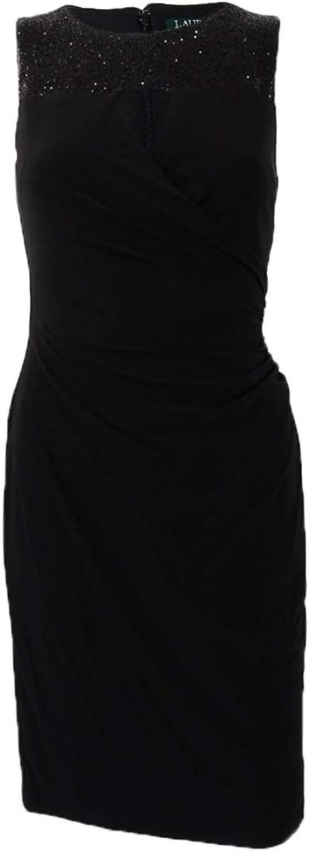 LAUREN RALPH LAUREN Womens Petites Jersey Sleeveless Cocktail Dress