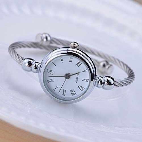 WZFCSAE Simple Silver Women Watches Elegante Piccolo Braccialetto Orologio Femminile 2018 Fashion Brand Roman Dial Retro Ladies Wristwatches Regalo, Roma Bianco