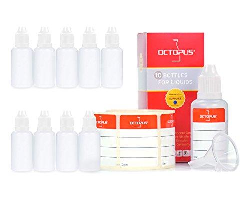 10 flaconi liquidi da 30 ml con imbuti + etichette: per liquidi elettronici, e-sigarette, bottiglie di plastica in PE LDPE, flaconi di dosaggio, bottiglie cadenti o bottiglie per spremere + coperchi bianchi con chiusura di sicurezza per bambini