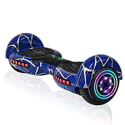 Hoverboard for Kids Adult Spider Self Balancing Hoverboard with LED Lights Wheels Bluetooth Speaker UL 2272 Certified Hover Board (Blue)