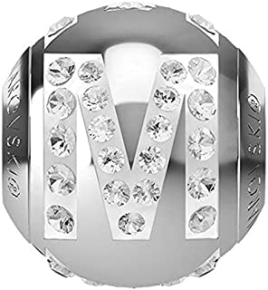 SWAROVSKI LETTER M Stainless Steel Becharmed 12 MM CRYSTAL BEAD