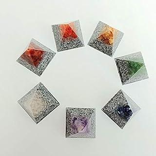 Juego piramides orgonita 7 chakras, realizadas con las piedras asociadas a cada chakra y resina transparente y virutas de ...