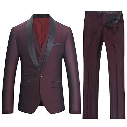 Traje de Hombres 3 pièces Smoking de Caso Boda Business Suit un botón a la Mode Slim Fit Chaqueta + Chaleco + Pantalones