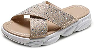Women Slippers Summer Bling Crystal Slip On Ladies Sandals Light Platform Wedge Shoes Woman Casual Female Beach Simple casual slippers (Color : Apricot, Shoe Size : 6.5)