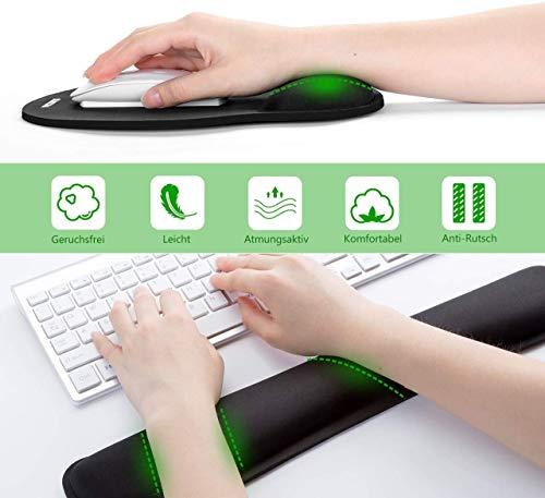 Mauspad mit Gelkissen | VicTsing Ergonomische Handgelenkauflage Set, Handgelenkstütze für Tastatur und Maus mit Memory-Schaum, rutschfeste, langlebig, komfortabel, Anti-Sehnenscheiden für Computer|Laptop, Schwarz - 7