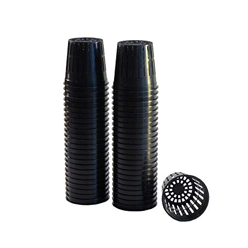 xGarden 50 Pack Lightweight Economy Net Pot Cups for Hydroponics and Aquaponics - 2' Diameter Thin Lip Design with Slotted Mesh Sides