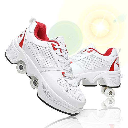 Fbestxie Multiusos 2 En 1 Patines De Ruedas Doble Fila Deformación Ruedas Ajustables Polea Zapatos Recreación Al Aire Libre Zapatos Cómodo Transpirable,White Red,37
