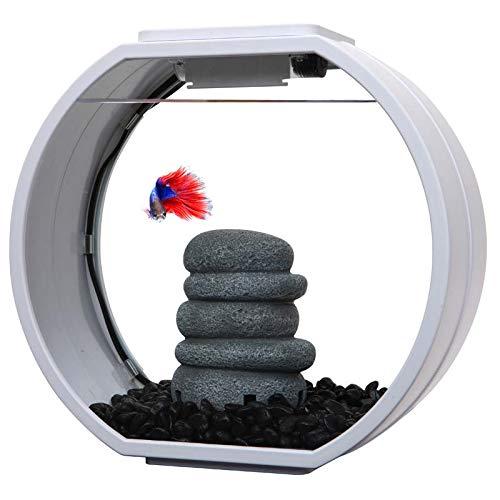 AA Aquarium 10 Liter Deco O Mini Becken, Nano Dekobecken mit LED Beleuchtung und Filter (weiß)…