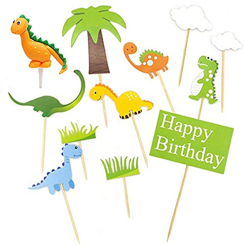 10 Pieces Dinosaur Cupcake Toppers, Dinosaur Party Supplies, Cake Toppers Zoo, Dinosaurs, Tree, Grass and Clouds, for Kids Birthday Party Supplies